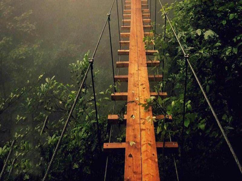 المشي على جسر خشبي معلق في نمك آبرود